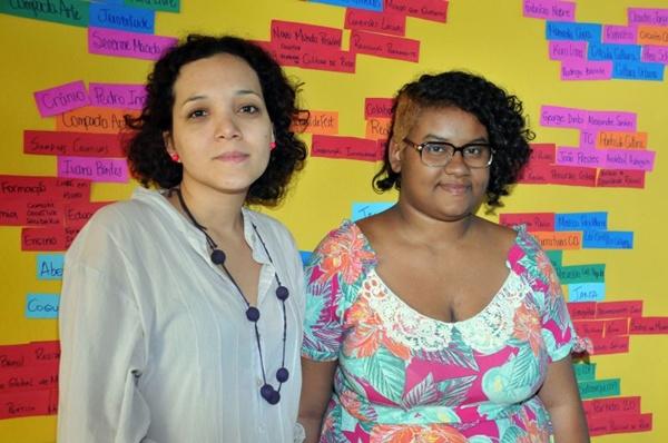 Marielle Ramires e Dríade Aguiar na Casa das Redes, na 703 Norte: integração entre as culturas do DF e do Brasil (Antonio Cunha/CB/D.A Press)