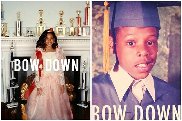 A cantora estampando o single 'Bow Down' e uma montagem que ela mesma fez para o marido, com o mesmo nome e uma foto dele mais novo (Reprodução/Tumblr, Reprodução/Instagram)