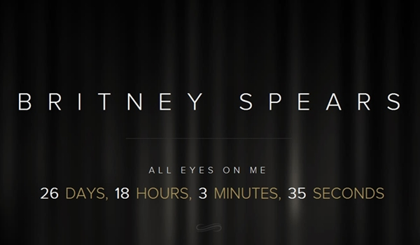 As palavras 'All Eyes on Me', o que pode ser o título de um novo single, acompanham uma contagem regressiva no site (britneyspears.com/Internet/Reprodução)