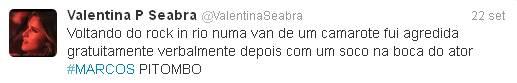 (Reprodução/Twitter@ValentinaSeabra)