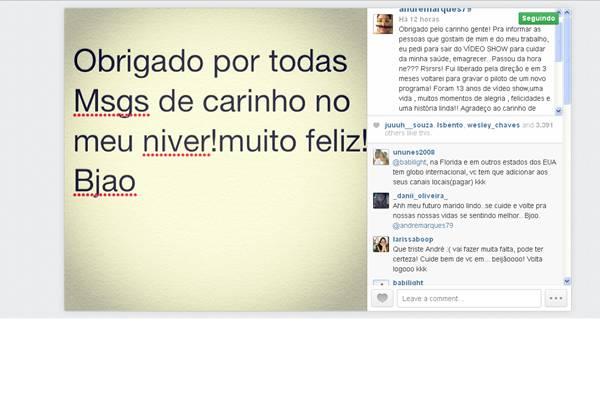 (Reprodução/Instagram@andremarques)