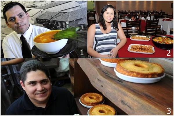 1 - Rosemberg Araújo proprietário do restaurante Cidade Livre, no Núcleo Bandeirante. 2 - Nize Beatriz Gomes é sócia do Recanto do Camarão, em Taguatinga. 3 - Os bolos caseiros são a especialidade da loja Bolos do Flávio, em Águas Claras (1- Carlos Vieira/CB/D.A Press. 2 -Carlos Moura/CB/D.A Press 3 - Bruno Peres/CB/D.A Press)