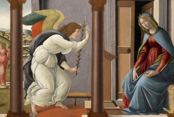 Reprodução de Anunciação, de Botticelli: escola florentina desempenhou papel central na pintura renascentista (Civita Arte/Divulgação)