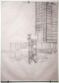Desenho da série Construção de Brasília, que faz parte da mostra: formas diferentes de estudar os ambientes (Dalton Camargos/Divulgação)