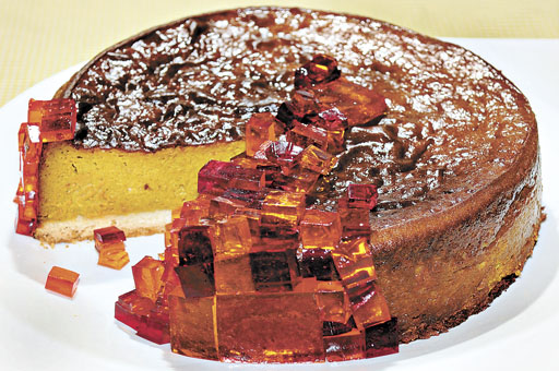 Torta de abóbora do jogo Minecraft: os quadradinhos de gelatina incorporados à receita dão uma decoração divertida ao prato (Edilson Rodrigues/CB/D.A Press)