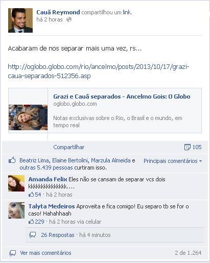 O ator ironizou a notícia pelo Facebook (Facebook/Cauã Reymond/Reprodução)
