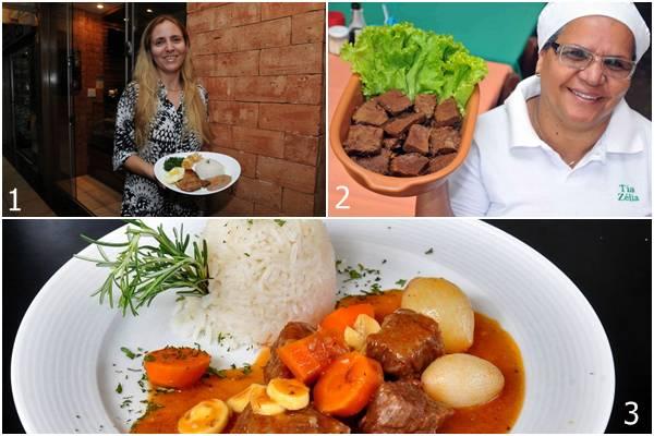 1- Restaurante D'Vilela oferece sete pratos diferentes por semana. 2 - A carne assada é servida às quartas-feiras no restaurante Tia Zélia. 3 - Legumes, vinho tinto seco e um suculento acém compõem o boeuf bourguignon, servido nas quintas-feiras (Carlos Moura/CB/D.A Press;Antonio Cunha/Esp. CB/D.A Press;Marcelo Ferreira/CB/D.A Press)