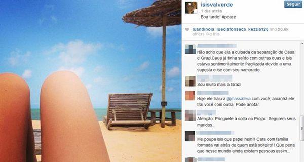 Os fãs do casal Grazi e Cauã se exaltaram ao comentar a suposta traição (@isisvalverde/Instagram/Reprodução)