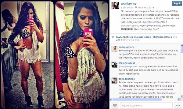 A dançarina fez um relato do problema no Instagram (@naflavias_/Reprodução/Instagram)