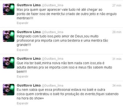 O cantor rebateu as afirmações da bailarina pelo Twitter (@gusttavo_lima/Twitter/Reprodução)