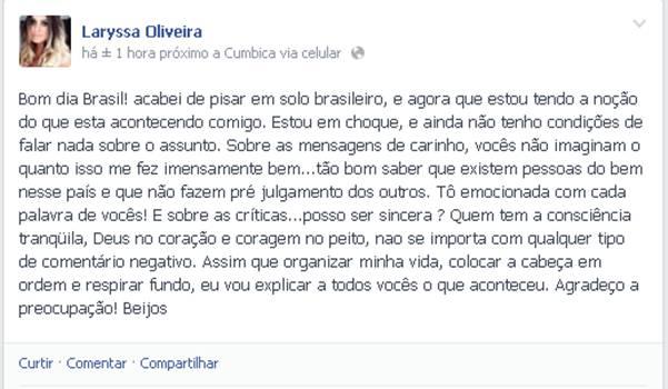 Em rede social, Larissa Oliveira comentou sobre os recentes acontecimentos e disse que está 'em choque' (Reprodução/Facebook)