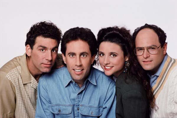 Atores Michael Richards, Julia Louis-Dreyfus, Jerry Seinfeld e Jason Alexander da série  (Sony/Divulgação)