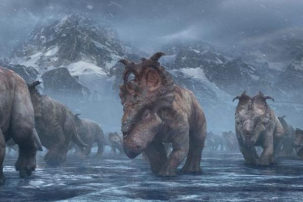 A migração dos paquirrinossauros: trama é intercalada com explicações científicas (Fox Films/Divulgação)