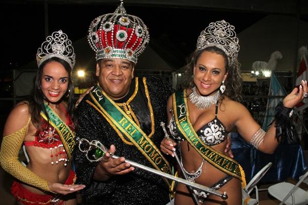 Princesa Bruna Ribeiro, Rei Momo Ednilson Andrade e Rainha Veruska Souza  (Lula Lopes/CB/D.A Press)