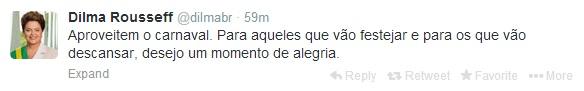 Presidente desejou momento de alegria nesse carnaval em sua conta oficial no Twitter. (Twitter/Reprodução)