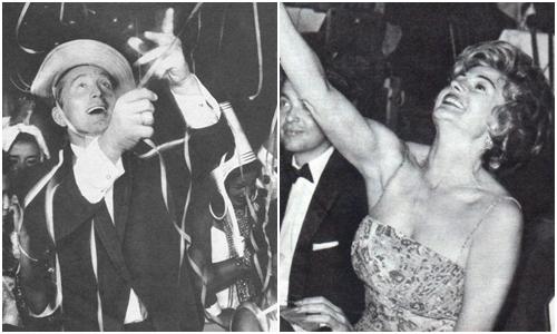 Os astros americanos Kirk Douglas e Rita Hayworth participaram da festa nos primeiros anos