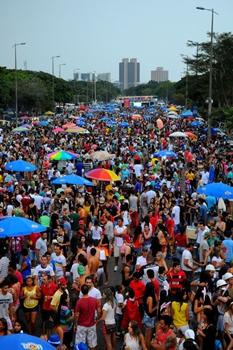 Foliões revivem o clima do carnaval no encontro dos blocos (Janine Moraes/CB/D.A Press)