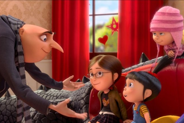 O vilão Gru nem imagina o quanto sua vida mudará após a chegada dessas três meninas  (Paramount/Divulgação)