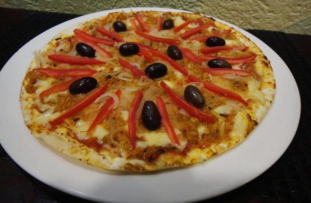 Pizza de bacalhau, da Santa Pizza  (Fernanda Neiva/Divulgação)