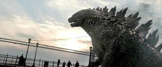 Imagens divulgadas pela produtora do longa mostram alguns atores e a grande estrela, o monstro japonês (Legendary Pictures/Divulgação)