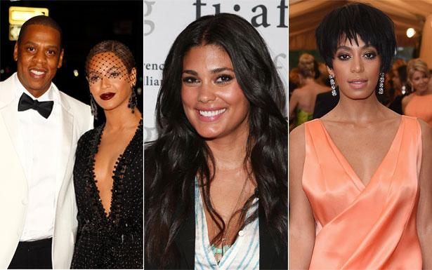 Jay-Z, Beyoncé, Rachel Roy, e Solange Knowles (CARLO ALLEGRI/REUTERS; LUCAS JACKSON/REUTERS e ROBIN MARCHANT/AFP)