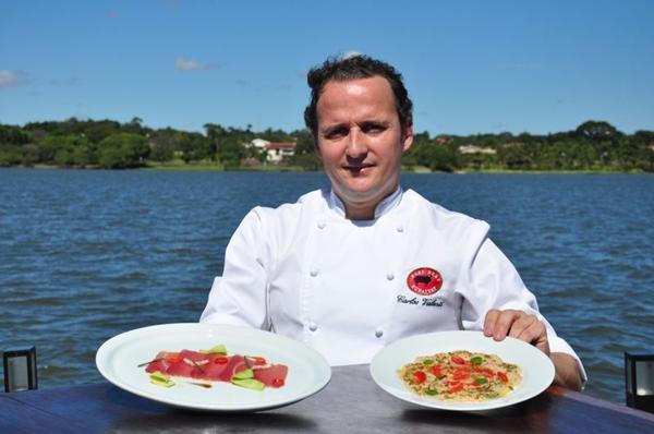 Chef executivo da rede, Carlos Valentí e os pratos do novo menu (Paula Rafiza/Esp. CB/D.A Press)
