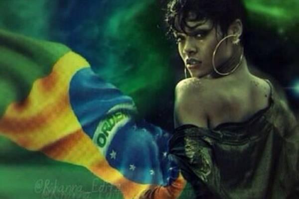 Empolgada, Rihanna compartilhou montagem de fã onde aparece junto da bandeira do Brasil (Reprodução/Twitter)