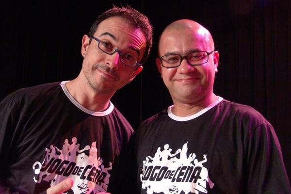 Ricardo Pipo e Welder Rodrigues, apresentadores do Jogo de Cena  (Adla Marques/Divulgação)