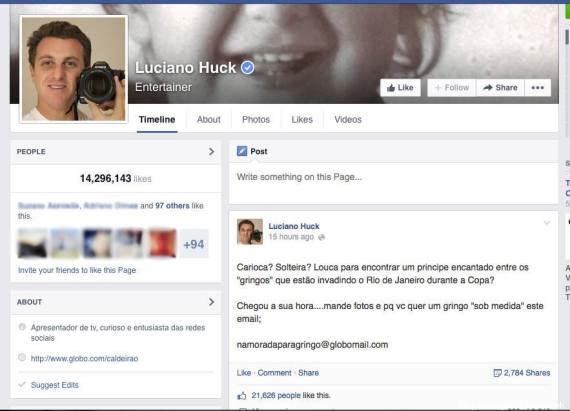 Após avaliação negativa, Luciano Huck apaga comentário  (Reprodução/Facebook)