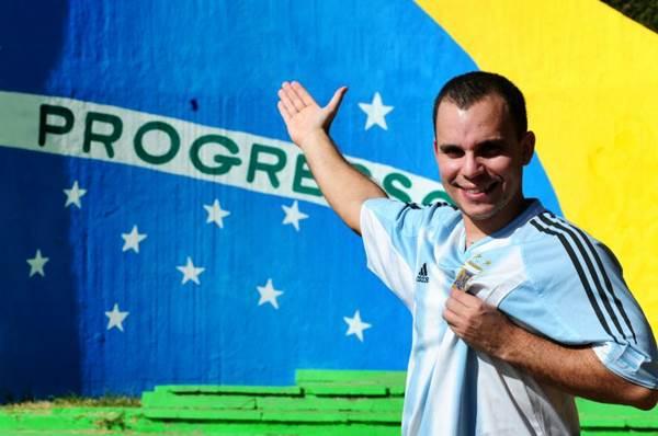Thiago Duarte Mesquita, 30 anos, servidor público, brasileiro que torce pela argentina desde os 10 anos (Bruno Peres/CB/D.A Press)