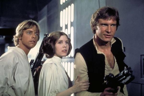 Elenco original durante filmagens de 'O retorno de Jedi', em 1983 (AP PhotoLucasfilm)