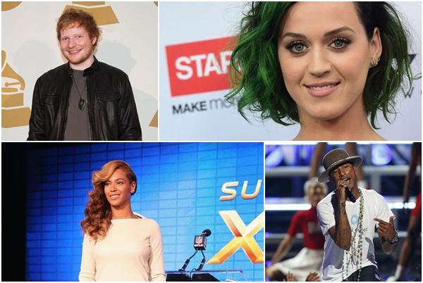 Ed Sheeran, Katy Perry, Beyoncé e  Pharrell Williams  estão entre os indicados (Divulgação)
