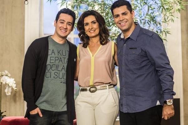 Marcos Veras, Fátima Bernades e Lair Rennó, equipe do Programa Encontro com Fátima Bernardes (Aline Massuca/Globo)