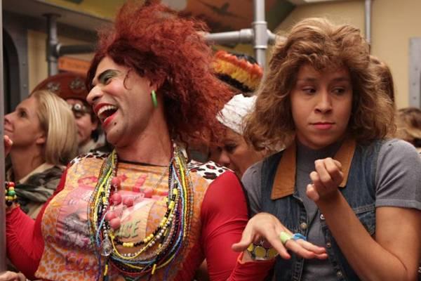 Thalita Carauta e Rodrigo Sant'anna que interpretam os personagens Janete e Valéria, no programa Zorra Total (Blenda Gomes/TV Globo)