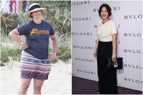 Foto de Drew (E) na praia, neste sábado (23/8), e da atriz (D) em 2013 (Reprodução/Revista Quem, Mark Davis/Getty Images/AFP)