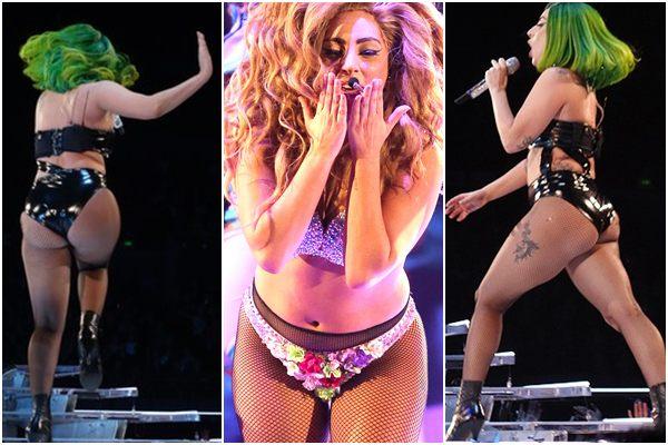 É possível ver a barriguinha de Lady Gaga e o bumbum fora de forma  (Reprodução Splash News/AKM-GSI /AKM-GSI)