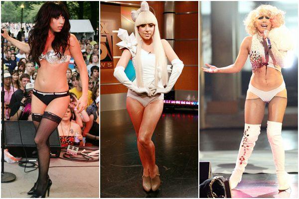 Primeira foto em 2007, segunda foto em 2008 e a última em 2009. Lady Gaga era bem magrinha no início da carreira (Reprodução Splash News/AKM-GSI /AKM-GSI)