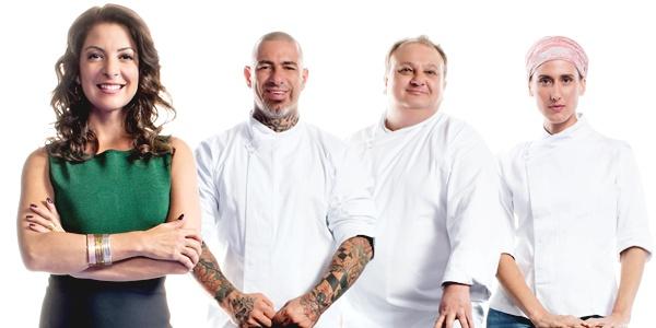 Ana Paula Padrão e chefs que trabalham no programa de culinária (Bandeirantes/Divulgação)