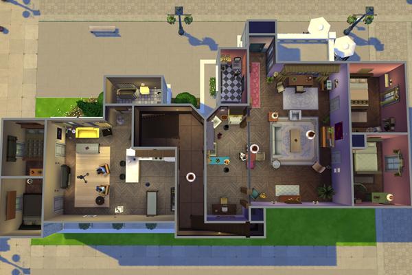 Planta do andar dos apartamentos de Monica e Chandler, de 'Friends' (Reprodução/ Imgur@IanRoach)