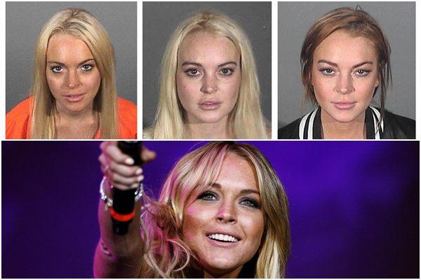 Em cima, Lindsay durante vários momentos em que foi presa e embaixo durante um show (Monstagem/Reuters e Mario Anzuoni/Reuters)