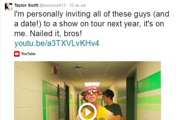 A cantora usou o Twitter para convidar os irmãos Delta Sigma Phi para apresentação (Reprodução/Twitter)