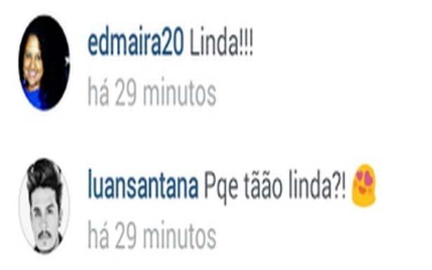 Em seguida, Luan Santana comentou na foto da bela (Reprodução/Instagram)