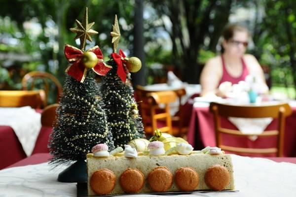 Tronco de Natal de pistache, caramelo e limão, do Café Daniel Briand.  (Gilberto Alves/CB/D.A Press)