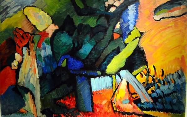 Pintura Improvisação nº 4, de Wassily Kandinsky, exibida na exposição Kandinsky: Tudo começa num ponto (Gilberto Alves/CB/D.A Press)