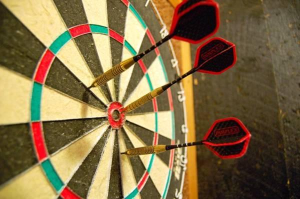 Cada círculo corresponde a uma pontuação no jogo popular entre os britânicos e praticado em bares da capital (Wikimedia/Divulgação )
