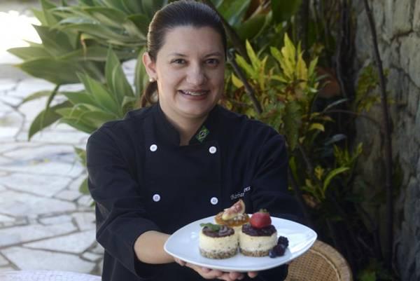 Cheesecake de figo, criação exclusiva da personal chef Bárbara Soares  (Ed Alves/CB/D.A Press)