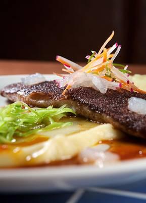 A tilápia com crosta de açaí será um cartão de apresentação do restaurante Jambu ao público (Navi/Divulgação)