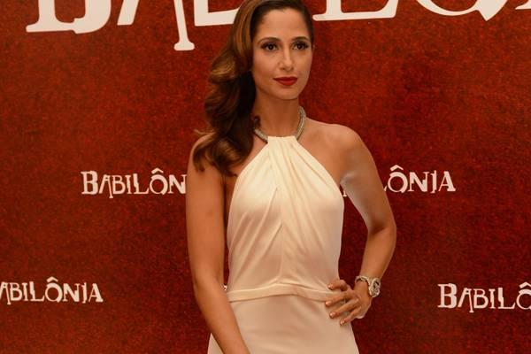 Camila Pitanga durante o lançamento da novela Babilônia  (George Maragaia/Globo)