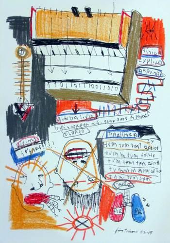 Um dos desenhos de João Trevisan expostos na mostra Music maniac (Renato Acha/Divulgação)