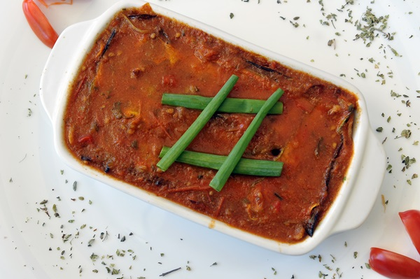 Lasanha vegana é feita com abóbora e berinjela no restaurante orgânico Bhumi  (Antonio Cunha/CB)